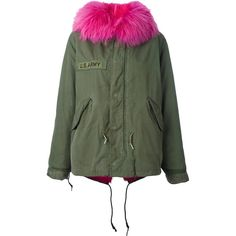 As65 contrast furred collar parka coat ($2,466) ❤ liked on Polyvore featuring outerwear, coats, green, green parka, parka coat, fur-collar coats, green parka coat and green coats