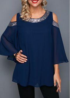Cold Shoulder Chiffion Blouse For Special Day Sequin Embellished Navy Blue Chiffon Blouse Sewing Blouses, Plus Size One Piece, Trendy Tops For Women, Rolled Hem, Swim Dress, Playing Dress Up, Casual Tops, Half Sleeves, Cold Shoulder