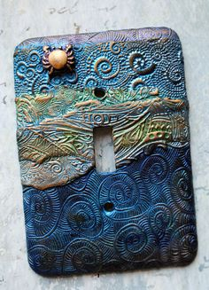 Golden Crab switch plate cover polymer clay by TMBakerDesigns