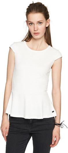 T-Shirt mit Schößchen für Frauen (unifarben, Rundhalsausschnitt mit kurzen Cup-Ärmeln) aus Jaquard mit eingearbeitetem Muster und hohem Stretchanteil, kurzer Reißverschluss im Nacken. Material: 95 % Polyester 5 % Elasthan...