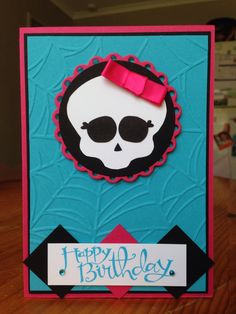 Stampin up Monster High for my daughter! Spider web embossing folder, sassy salutations, melon mambo, tempting turquoise & basic black cardstock. Inspired by http://rosdavidson.typepad.com/ros_davidson_live_life_an/2013/02/monster-high-birthday-card.html