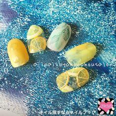 ネイル デザイン 画像 1570452 クリア 黄色 オレンジ トロピカル フルーツ 夏 リゾート 浴衣 ソフトジェル ハンド ショート
