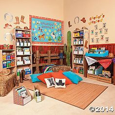 Get inspired with these Reading Corner Ideas from Oriental Trading. Find the Reading Corner Theme your students will love and create a space where they will love to read. Western Theme Decorations, Diy Classroom Decorations, Classroom Displays, Classroom Themes, Future Classroom, Cowboy Room, Cowboy Theme, Kindergarten Projects, Kindergarten Themes