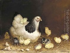 Hen and Chicks in the Hay Ben Austrian | Oil Painting Reproduction ...