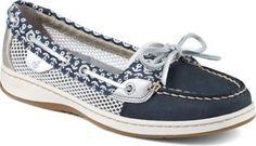 Sperry Topsider- Women's Angelfish Anchor Print Slip-On Boat Shoe NAVY