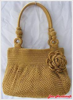 Handmade Bag : Hobo Style : Nylon : Golden with Rose flower
