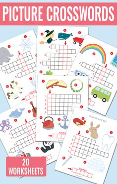 Picture Crossword Puzzles - Great Spelling Worksheets for kids