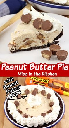 Peanut Butter Pie filled with Reese's Peanut Butter Cups in an Oreo crust is one of the most delicious desserts you can make! An easy, no bake treat for any holiday or celebration. No Bake Treats, No Bake Desserts, Easy Desserts, Delicious Desserts, Easy Holiday Recipes, Best Dessert Recipes, Sweet Recipes, Yummy Recipes, Reeses Peanut Butter