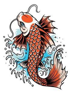 Illustration of Koi fish japan illustration vector art, clipart and stock vectors. Japanese Koi Fish Tattoo, Koi Fish Drawing, Fish Drawings, Fish Drawing Outline, Pez Koi Tattoo, Coy Fish Tattoos, Coy Tattoo, Koi Dragon Tattoo, Koi Tattoo Design