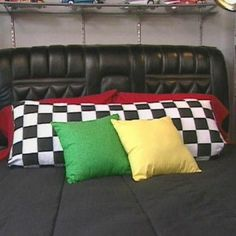 Great ideas.  Really like the car seat headboard.  Wonder if I could duplicate this.  The one in the pic is from an old Lincoln.