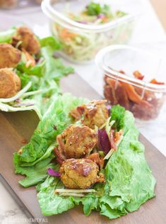 This pumpkin sage meatball lettuce wrap + hot bacon vinaigrette recipe is juicy and savory, w/ crisp vegetables & moist meatballs drizzled in bacon!