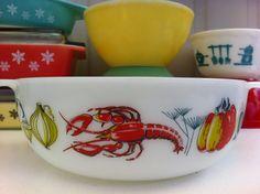 Pyrex JAJ Lobster round casserole dish. From Fibs & Scraps.