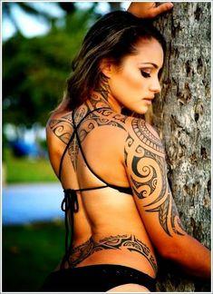 Women Full Back Maori Tattoos, Maori Design Tattoos on Full Back Women, Beautiful Maori Tattoo Design for Women
