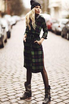 Green Plaid Maxi Shirt Dress with PU Collar and Epaulet | Choies