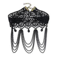 """Choker """"Madlene"""" - Ein edel aussehender Choker im Viktorianischen Stil, perfekt für Steampunk oder Gothic.Die schwarze Spitze zusammen mit den vielen kleinen Details machen diesen Chocker zu einem echten Hingucker, der viel Aufmerksamkeit auf dich ziehen wird!"""
