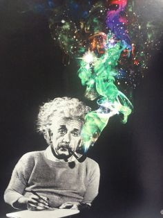 This psychedelic piece suggest that Einstein used to smoke hallucinogenic substances to fuel his brilliant scientific brain. What drew me to this image is the vibrancy off the smoke that contrasts against the grey figure that is Einstein. Psychedelic Art, We All Mad Here, Psy Art, E Mc2, Photocollage, Bizarre, Albert Einstein, Citation Einstein, Einstein Quotes