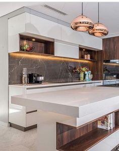modern luxury kitchen design ideas that will inspire you 5 Kitchen Interior, Interior Design Living Room, Kitchen Decor, Design Bedroom, Modern Kitchen Island, Modern Kitchen Cabinets, Luxury Kitchen Design, Contemporary Kitchen Design, Brooklyn Kitchen