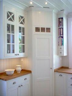 Corner pantry in White, scandinavian kitchen. I love the narrow shelves for book. Corner pantry in Corner Pantry Cabinet, Corner Kitchen Pantry, Kitchen Ikea, Kitchen Pantry Design, Kitchen Pantry Cabinets, Kitchen Decor, Corner Kitchen Cabinets, Cabinet Closet, Small Kitchens