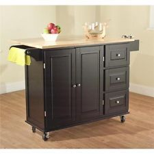 Counter Height Microwave Cart : ... Island Cart Wood Top Counter Microwave Stand Table Storage Cabinet