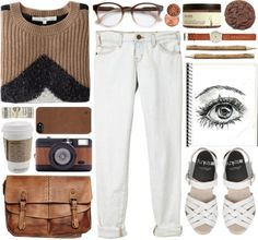"""brown & white"" by fashxo on Polyvore"