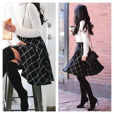 "NWOT. Black Grid/Plaid Flare Skirt New WithOut Tag. Never worn. Black with white grid flare midi skirt. Crepe-like material. Side zipper. 13.5"" waist. 27"" length. I can only ship FEBRUARY 7-12. Message me if interested so i can hold it for you till end of January Skirts Midi"