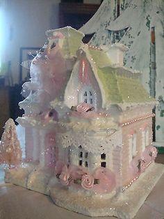 Shabby Chic Home Decor Christmas Village Houses, Christmas Town, Christmas Villages, Pink Christmas, Christmas Crafts, Putz Houses, Gingerbread Houses, Shabby Chic Christmas, Victorian Christmas