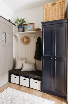 Mudroom Cabinets, Mudroom Laundry Room, Laundry Cabinets, Laundry Room Design, Porch To Mudroom, Moulding And Millwork, Decoration, Challenge Week, Kallax Hack