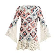 My Beachy Side Bisou V-neck crochet-knit cotton mini dress ($700) ❤ liked on Polyvore featuring dresses, white multi, long boho dresses, long v neck dress, white beach dresses, boho dresses and white bell sleeve dress
