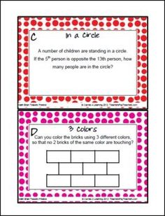 For fast finishers, a little something more to do. FREEBIE Math Brain Teasers from Games 4 Learning - Colorful, printable math problems. Math Resources, Math Activities, Second Grade Math, Fourth Grade, Third Grade, Fast Finishers, Early Finishers, Math Challenge, Math Problem Solving