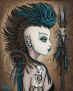 Title: Tala Tribal Warrior Mohawk Wolf Tattoo Shapeshifter Fantasy Art prints directly from the artist studio. Copyright Watermark does not appear on Fantasy Kunst, Fantasy Art, Belly Tattoos For Women, Mandala Skull, Anime Wolf Zeichnung, Lobo Tribal, Gothic Kunst, Anime Wolf Drawing, Arte Punk