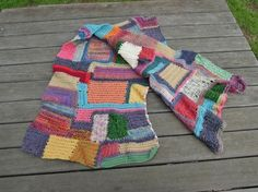 patchwork crochet scarf