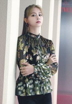 &Twice postcard + card set scans. Nayeon, South Korean Girls, Korean Girl Groups, Fake True, Tzuyu Twice, Latest Pics, Kpop Girls, High Neck Dress, Ruffle Blouse