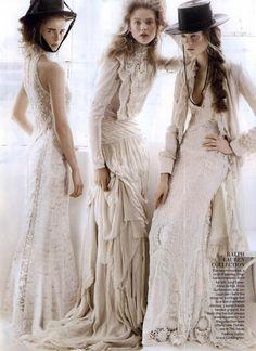 Love the whole look on the right... Models: Anna de Rijk, Frida Gustavsson and Jac Jagaciak | Photographer: Mario Testino | Stylist: Grace Coddington - for Vogue, Feb 2011