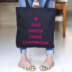 Save Water Drink Champagne Canvas Bag