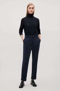COS image 12 of Tailored pleat trousers in Navy