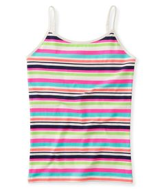 """Add a splash of fab underneath every hoodie, cardi and henley with our Neon Stripe Cami! Vibrant rainbow stripes are totally eye-catching, while the soft and stretchy material ensures you stay 100% comfy.<br><br>Tag free label.<br>Slim fit. Approx. length (10): 17.5""""<br>Style: 2657. Imported.<br><br>94% cotton, 6% spandex.<br>Machine wash/dry."""