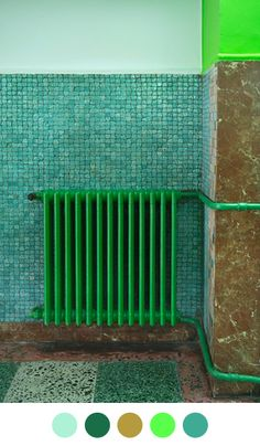Cast iron radiators need some sprucing up? Here's inspirational ideas with an array of nontraditional bold paint colors for cast iron radiators. Cast Iron Radiators, Green Rooms, Color Stories, Color Theory, Colour Schemes, Shades Of Green, 50 Shades, Architecture, Colorful Interiors