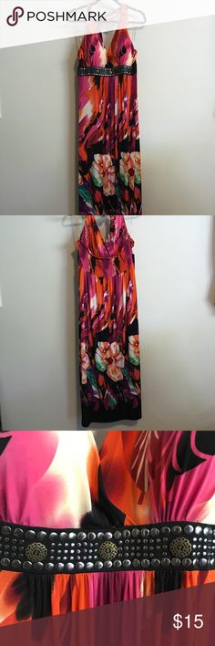 Tropical Floral Maxi Halter Dress Plus Size Delicious colors, sexy metallic studded black band belt under bust. Nicely-shaped padded cups. Very good condition! To whoever scores this baby: It will bring out the sexy goddess you are! 💋💃👑Rawr!!!🐅 Dresses Maxi