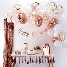 This Ginger Ray Rose Gold Balloon Arch Kit includes balloon tape and rose gold and white balloons that come in different sizes and designs. Use this balloon arch kit to decorate for a bridal shower, birthday party, or any other occasion! Celebration Balloons, Birthday Party Celebration, Happy Birthday Parties, 15th Birthday Party Ideas, 19 Birthday, Elegant Birthday Party, Bday Party Ideas, Happy Party, Cheap Party Ideas