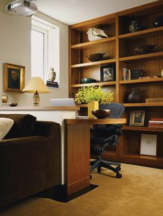 Home Office family room layout Design Ideas, Pictures, Remodel and Decor Home Office Design, Office Decor, House Design, Office Ideas, Office Designs, Office Furniture, Furniture Ideas, Built In Desk, Built Ins