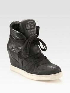 Ash Leather Wedge Sneakers
