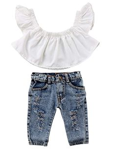 396d7d6b955c Amazon.com: 2017 Baby Girls Off Shoulder Polka Dot Top+Destroyed Ripped  Jeans