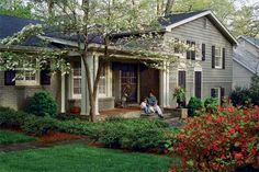 Color inspiration...gray with black shutters and white trim with brick accent.