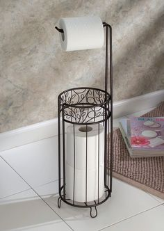 InterDesign Toilet Paper Holder with Free Charmin Utra-Soft 4 Pack! Unique Toilet Paper Holder, Free Standing Toilet Paper Holder, Toilet Paper Holder Stand, Paper Roll Holders, Toilet Paper Storage, Grand Menage, Wrought Iron Decor, Primitive Bathrooms, Country Bathrooms