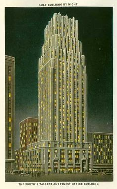 The Gulf Oil building, Houston, Texas was the tallest building in the south. In high school we used to go up to the top. Only In Texas, Banks Building, H Town, Texas History, Texas Homes, Texas Rangers, The Good Old Days, Vintage Postcards, Old Photos