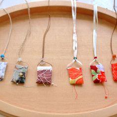 tiny textile pendants