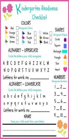 FREE Kindergarten Readiness Checklist Preschool & Phonics Curriculum Choices by judy