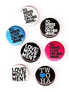 TWLOHA-ACC116   		To Write Love On Her Arms button pack.  Seven buttons, all different.   		  			$5.00    			  			Add to Cart