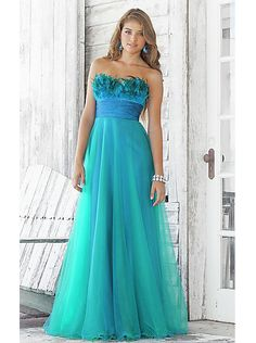 A-line Feather Bodice Blue Organza Long Prom Dress /Evening /Formal dress 5105