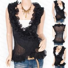 Trendy Black Chiffon Tiered Ruffles Crinkles Wrap Sleeveless Shirt